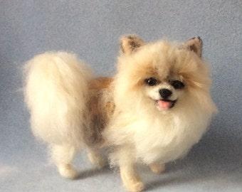 Pomeranian pet portrait felted animal miniature dog sculpture custom made