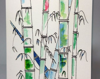 Greeting Card - Bamboo Forest ~ Ink & Watercolour