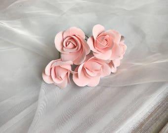 Rose hairpins Clay flowers flower hair jewelry bridal in delicate pink handmade