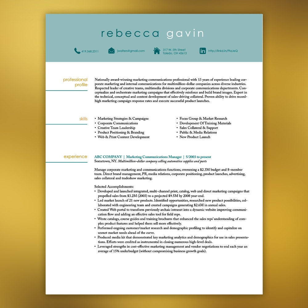 Resume template instant download 4 pages marketing zoom yelopaper Gallery