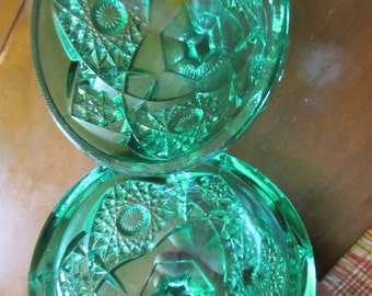 Vintage Green Glass Diamond Pattern Dish with Lid