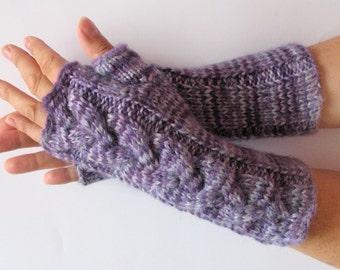 Fingerless Gloves Purple Violet Gray wrist warmers
