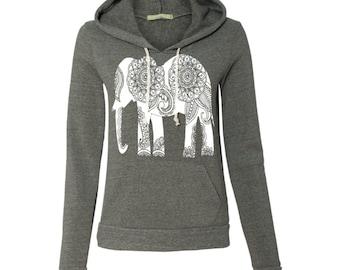 Womens Paisley ELEPHANT Christmas Gift Hoodie Sweatshirt Hooded Alternative Apparel Gray, Blue, Pink, Black