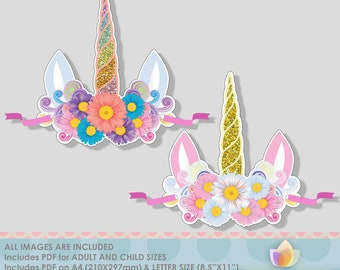 Unicorn Paper Crown Party Hat for Unicorn Party