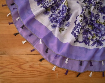 scarf with neede lace trim, purple white
