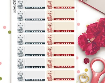 Films Movies Review Functional Planner Stickers   Erin Condren Half Boxes   Kikki K   Filofax    Retro   Rating