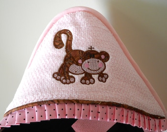 child hooded towel playful monkey applique beach pool bath