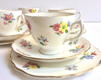 Vintage tea cup saucer set fine bone china pink yellow flowers  English traditional afternoon tea