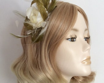 OLIVE GREEN and IVORY Fascinator , with Ivory Organza ribbon flower, Feathers,on a comb