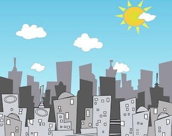 Superhero City Skyscraper Background - Super Hero City Skyline Photography Backdrop- Birth Party Dector boys photoshoot photo props D-6188
