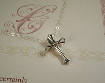 sterling silver cross necklace, sterling silver cubic zirconia cross necklace, cross necklace, sterling silver medieval cross necklace,