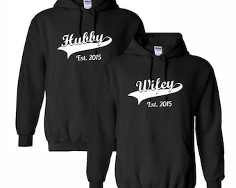 Couples Hoodies Wifey Hubby Sweatshirt Mens Womens Husband Wife Wedding  Bride Groom Gift Ideas Anniversary Honeymoon