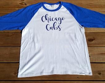 Chicago Cubs Blue Glitter Raglan Baseball T-Shirt