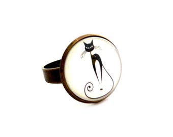 so black cat funny 18mm ring