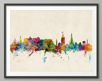 Edinburgh Skyline, Edinburgh Scotland Cityscape Art Print (578)