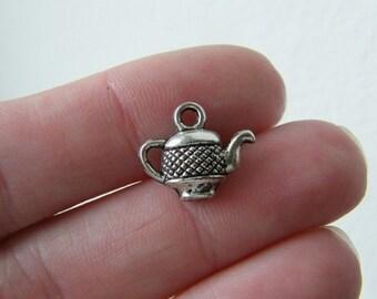 14 Teapot charms antique silver tone FD45