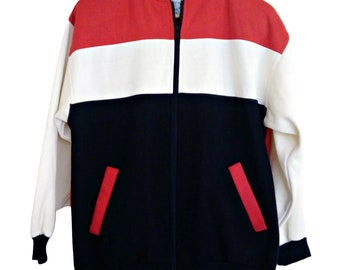 Vintage Letterman Jacket 80s Cardigan Jumper Zip Up Colour Block Active Sportswear Size XL