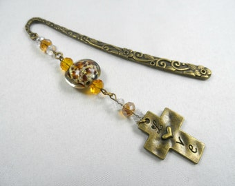 """Cross """"Love"""" Charm Shepherd's Hook Bookmark with Animal Print Lampwork Bead and Faceted Crystals - Bronzetone"""
