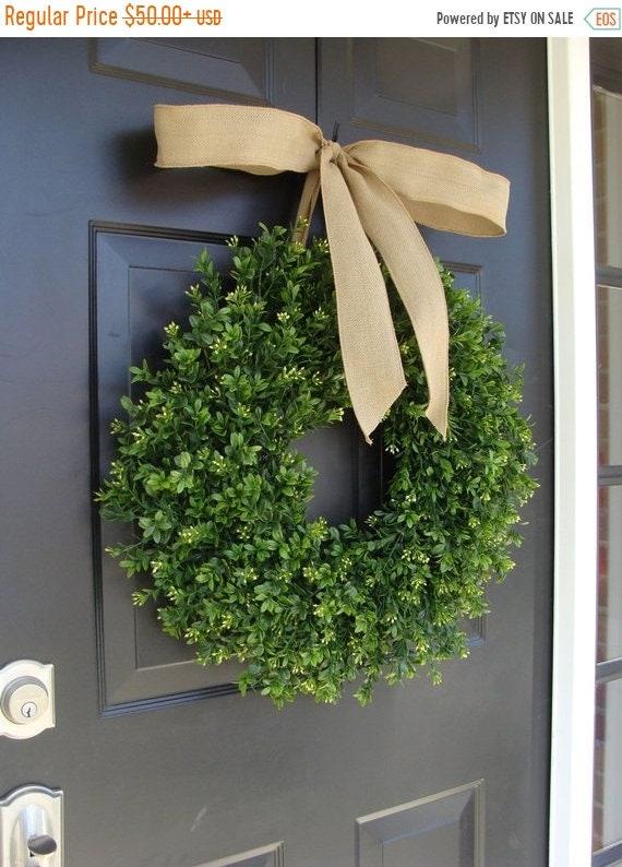 SUMMER WREATH SALE Thin Boxwood Wreath- Fall Door Wreath- Artificial Boxwood- Spring Wreath- Wall Art- Wedding Wreath- Wedding Decor