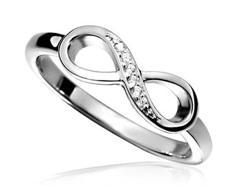 Silver Infinity Ring set with CZ Diamonds, made to your finger size.