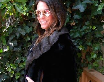 Pretty black faux fur cape / stole / wrap / wedding
