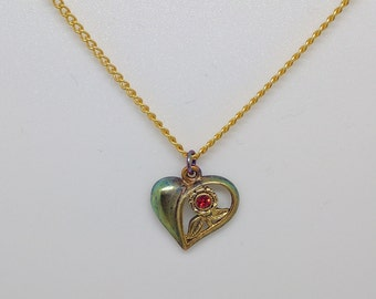 Vintage Gold Heart Necklace, Ruby Heart Flower Necklace, Flower Heart Pendant, Heart Necklace, Tiny Heart Necklace, Dainty Necklace