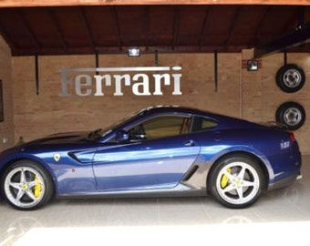 Ferrari Sign Brushed Aluminium 4 feet long - Four Feet Ferrari Man Cave Sign Silver - Garage Sign - Engine - Racing - Man Cave - Office -Car