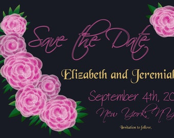 Digital Hand-Drawn Floral Save the Date Card Editable PDF