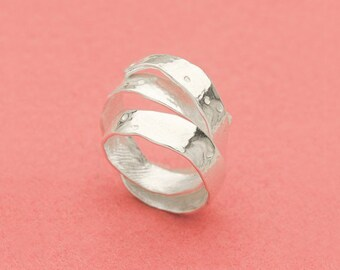 Apple peel adjustable silver ring - Japanese fruits - Apple curling skin