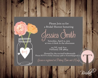 Mason Jar Invitation, Bridal Shower Invitation, Wedding Shower, Mason Jars, Chalkboard, invite, Invitation, 1014