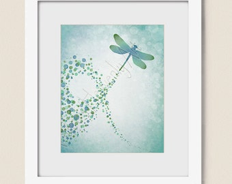Watercolor Dragonfly Wall Art Print 8 x 10, Blue Green Nature Inspired Wall Decor, Turquoise Circle Pattern,  (217)