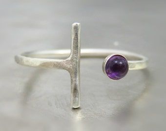 Natural Amethyst Ring, Purple Gemstone Ring, Sterling Silver Ring, Amethyst Ring