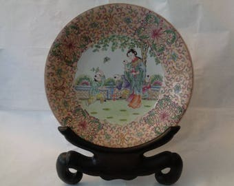 Chinese famille verte dish hand painted depicting mother and children in the garden
