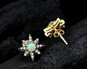 Ethiopian Opal & CZ Earring, Ethiopian Opal Jewelry, Opal Earrings,Stud Earring, Opal Gemstone Jewelry, Opal Fire Jewelry,ETER1024