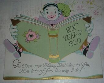 Vintage jaren 1920 Clown verjaardagskaart voor een zes-jarige