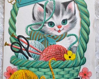 Vintage Birthday Card - Kitten in Yarn Basket to Granddaughter - Used Peek Through