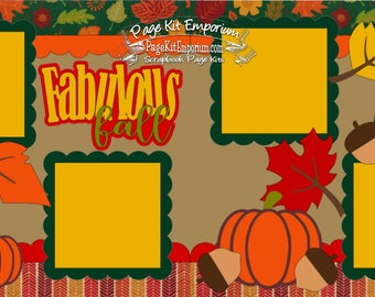 Scrapbook Page Kit Fabulous Fall Leaves Pumpkins Bird Boy Girl 2 page Scrapbook Layout 6