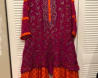 Pakistani/formal/3 pc/eid outfit/three piece/ shocking pink orange/gharara dress/wedding or party wear