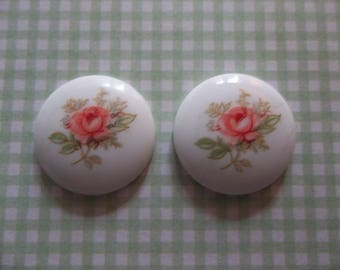 Vintage Cameos - Pink Rose Cameos - 18mm Round Glass Cabochons - White Base Decal Stones - Made in Japan - Qty 4 *NEW ITEM*