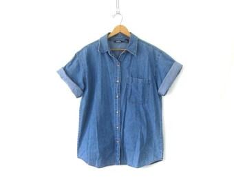 Short Sleeve Men's Shirt Denim Boyfriend Button Down Rugged Blue Jean Shirt Basic Collar Oxford Tshirt Womens Size XL