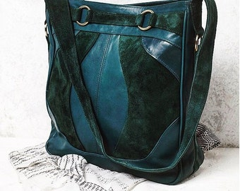 COPENHAGEN. Leather bucket bag / green leather bag / boho leather shoulder bag / large leather bag. Available in different leather colors.