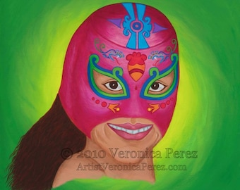 Lucha: Print / Photo reproduction of original acrylic painting (11x14in)