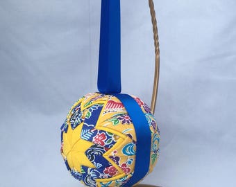 Gift from Okinawa Japanese home decor Quilted ornament Kimono fabric ornament Okinawa bingata fabric Blue and Yellow Mothers Day gift