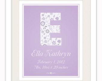Personalized Monogram Birth Print, Lavender Nursery Art