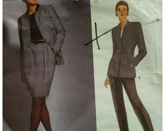 90s Geoffrey Beene Fitted Jacket Pattern, Stand-up Collar, Welt Pockets, Lined, Back Pleat, Tapered Pants, Vogue No. 2959 UNCUT Size 8 10 12