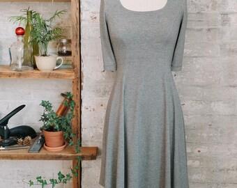 Marion évasée chiné gris robe avec manches - robe évasée - robe gris chiné - petite vêtements - mode - robe de bambou pour l'automne