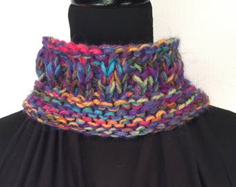 Colorful Hand Knit Neck Warmer Infinity Scarf