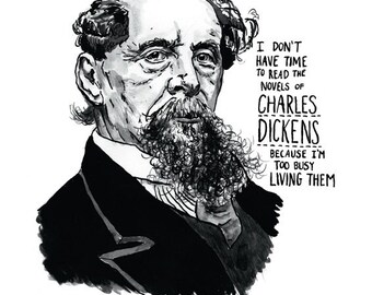 Charles Dickens Portrait Poster Print, Victorian Art, Pen And Ink Drawing, Great Writers Series