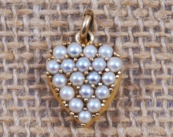 Antique 14K Gold and Cluster Pearl Heart Love Pendant Charm FREE Domestic Shipping