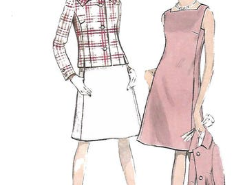"""Vintage 1960's Sewing Pattern Vogue A-Line Square Neck Dress & Jacket Bust 36"""" Swinging Sixties"""